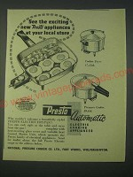 1959 Presto Electric Frypan, Cooker Fryer and Pressure Cooker Ad
