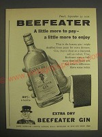 1959 Beefeater Gin Ad - Beefeater a little more to pay a little more to enjoy
