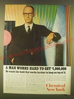 1963 Chemical new York Bank Ad - A man works hard to get $1,000,000
