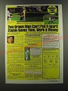 1986 Zoysia Grass Ad - Two grown men can't pull it apart! Zoysia saves time