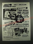 1986 Arrow T-50SP Staple Gun Ad - Great Spring Hardware Sale