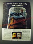 1986 Olympic Oil Stain Ad - How to protect the beauty from the beast