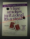 1986 Players Cigarettes Ad - New Players Lights 25's because 5 free smokes