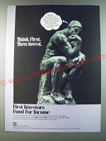 1986 First Investors Fund for Income Ad - Think First. Then invest