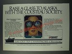 1986 Paquet French Cruises Ad - Raise a glass to Alaska with Cousteau Society