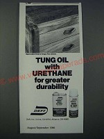 1986 Deft Tung Oil with Urethane Ad - for greater durability