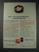 1963 Metropolitan Life Insurance Ad - Cancer like a small spreading flame