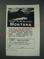 1963 Montana Tourism Ad - Site see the big sky country Montana