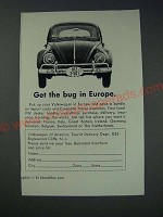 1963 Volkswagen Bug Ad - Get the bug in Europe