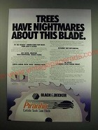1987 Black & Decker Piranha Carbide Tooth Saw Blade Ad - Trees have nightmares