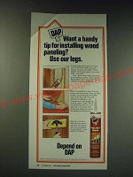 1987 DAP Panel Weld Adhesive Ad - Want handy tip installing wood paneling