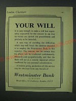 1942 Westminster Bank Limited Ad - Your will