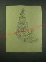 1952 Cartoon by Quentin Blake Ad - Groom Trapped in Cake