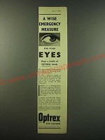 1940 Optrex Eye Lotion Ad - A wise emergency measure for your eyes