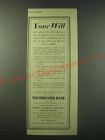 1940 Westminster Bank Ad - Your Will