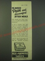 1940 Phillips' Milk of Magnesia Tablets Ad - To avoid pain and discomfort