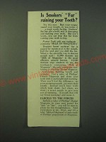 1940 Phillips' Milk of Magnesia Ad - Is Smokers' Fur ruining your Teeth?