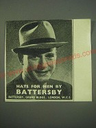 1940 Battersby Hats Ad - Hats for men by Battersby
