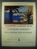 1930 Orient Line Cruises Ad - Sunshine and Blue Seas a modern holiday
