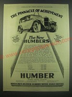 1930 Humber Cars Ad - The pinnacle of achievement