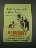1953 Hennessy Cognac Brandy Ad - A little Hennessy can be a big comfort