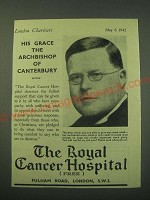 1942 The Royal Cancer Hospital Ad - His Grace the Archbishop of Canterbury
