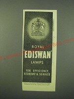 1942 Edison Swan Electric Royal Ediswan Lamps Ad - Efficiency, Economy