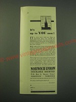 1942 Norwich Union Insurance Societies Ad - It's up to you now!