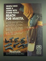 1988 Makita Cordless Power Tools Ad - People who make a living with power tools
