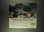 1988 Hunter Fan Ad - shouldn't you buy a Hunter fan because it's 90% quieter?