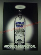 1989 Absolut Vodka Ad - Absolut Perfection