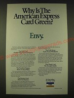 1989 VISA Card Ad - Why is the American Express card Green? Envy.