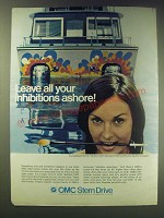 1970 OMC Stern Drives Ad - Leave all your inhibitions ashore