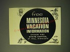 1964 Minnesota Tourism Ad - Free Minnesota Vacation Information