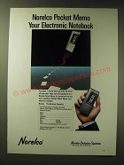 1989 Norelco Pocket Memo Ad - Norelco Pocket Memo Your Electronic Notebook