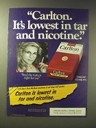 1989 Carlton Cigarettes Ad - Carlton. It's lowest in tar and nicotine