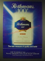 1989 Rothmans 100s Cigarettes Ad - Rothmans 100s The new measure of quality and