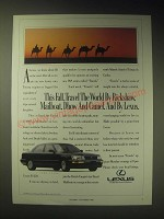 1989 Lexus LS400 Car Ad - This fall, travel the world by Rickshaw, mailboat