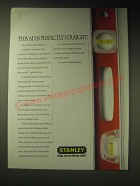 1989 Stanley Professional Top Read Levels Ad - This Ad is perfectly straight