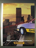 1989 Continental Tires Ad - German engineering where you need it most on a car