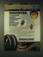 1989 Bridgestone Spitfire DTC S27 Touring Tire Ad - Discover