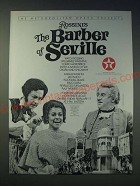 1989 The Metropolitan Opera Ad - Rossini's The Barber of Seville
