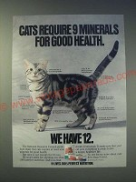 1989 9-Lives Cat Food Ad - Cats require 9 minerals for good health. We have 12.