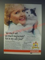 1989 Science Diet Cat Food Ad - Betty White - Too much salt.