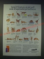 1989 Iams Pet Food Ad - Spend 24 hours as a cat and you'll swear off