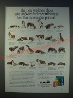 1989 Iams Pet Food Ad - The more you know about your dog's day
