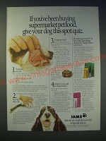 1989 Iams Pet Food Ad - If you've been buying supermarket pet food