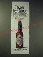 1989 Tabasco Pepper Sauce Ad - Power breakfast