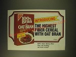 1989 Nabisco 100% Bran with Oat Bran Ad - Introducing the highest fiber cereal