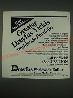 1989 Dreyfus Investments Ad - Now available… greater Dreyfus yields worldwide